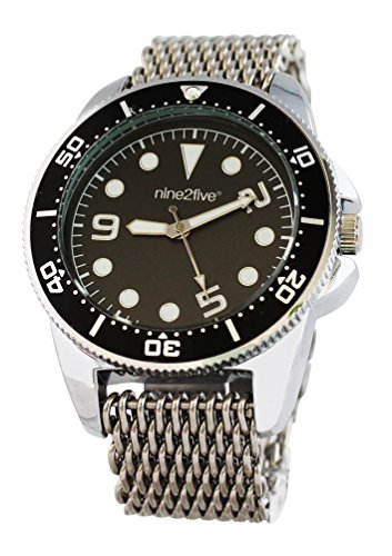 nine2five aspm07slng Herren Stainelss Stahl Silber Armband Band Schwarz Zifferblatt Armbanduhr