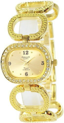 Omax Gold Analog Metall Armbanduhr Strass Schmuck Edelstahl Uhr