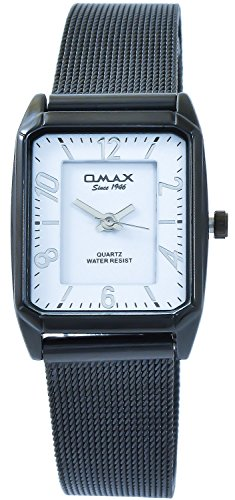 Omax Weiss Titan Look Analog Metall Meschband Armbanduhr Quarz Uhr