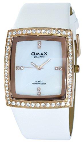 Omax Weiss Gold Analog Metall Leder Strass Armbanduhr Uhr