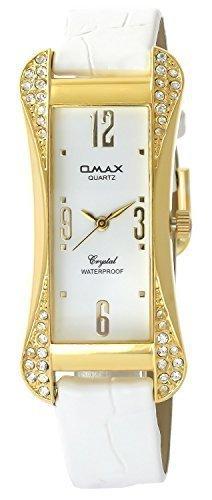 Omax Weiss Gold Analog Metall Leder Strass Armbanduhr Quarz Uhr