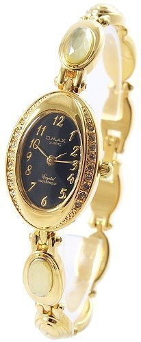 Omax Schwarz Gold Analog Metall Armbanduhr Strass Schmuck Mode Trend