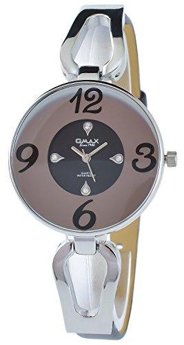 Omax Schwarz Silber Analog Metall Leder Armbanduhr Quarz Uhr