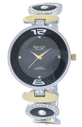 Omax Schwarz Silber Gold Strass Analog Metall Armbanduhr Quarz Uhr