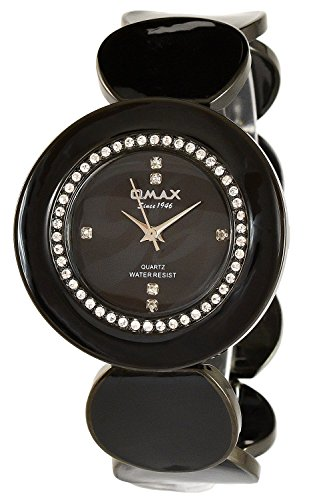 Omax Schwarz Strass Analog Metall Armbanduhr Quarz Uhr