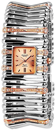 Omax Gold Silber Analog Metall Armbanduhr Strass Schmuck Mode Trend Uhr