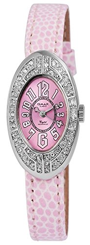 Omax Rosa Silber Analog Metall Leder Strass Armbanduhr Quarz Uhr