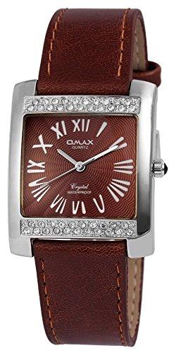 Omax Braun Silber Analog Metall Leder Strass Armbanduhr Quarz Uhr