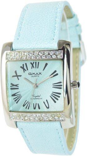 Omax Blau Silber Analog Metall Leder Strass Armbanduhr Quarz Uhr