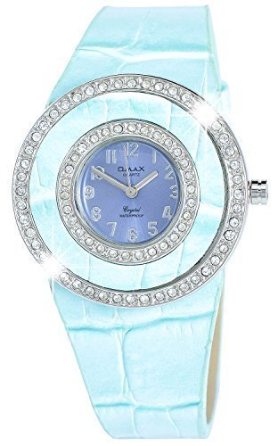 Omax Lila Blau Silber Analog Strass Metall Leder Armbanduhr Uhr