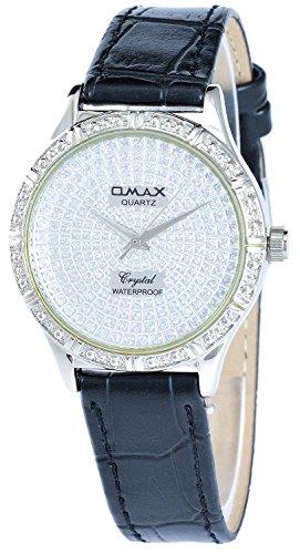 Omax Silber Schwarz Analog Metall Leder Strass Armbanduhr Quarz