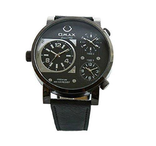 Omax Herren Retro Designer Armbanduhr Dreifach Zeit Schwarz Kunstleder Uhrenarmband Schwarz Weiss Ziffernblatt Extra Batterie