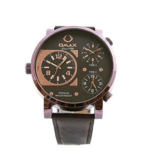 Omax Herren Retro Designer Armbanduhr Dreifach Zeit Braun Kunstleder Uhrenarmband Rose Gold Ziffernblatt Mit Eine Extra Batterie Akku