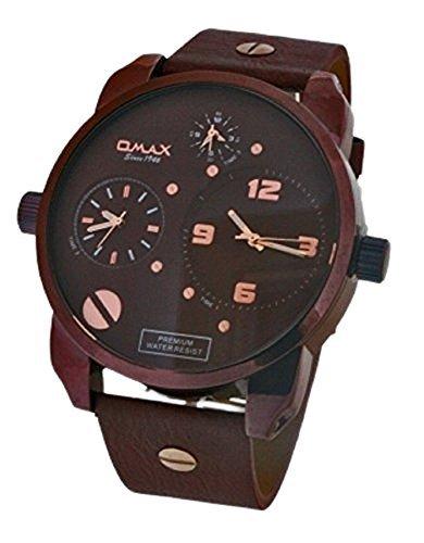 Omax Herren Retro Designer Armbanduhr Dreifach Zeit Braun Kunstleder Uhrenarmband Braun Ziffernblatt Mit Eine Extra Batterie Akku