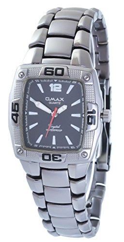 Omax Grau Schwarz Titan Look Analog Metall Armbanduhr Quarz Uhr