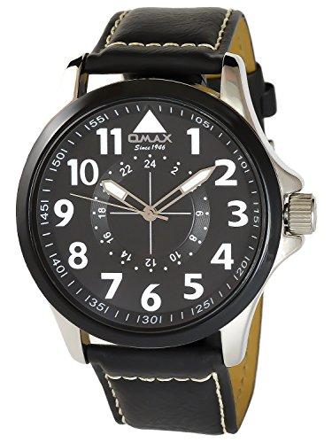 Omax Schwarz Analog Metall Leder Armbanduhr Quarz