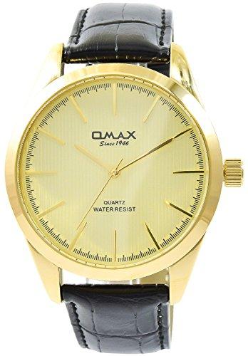Omax Gold Schwarz Analog Metall Leder Armbanduhr Quarz Uhr