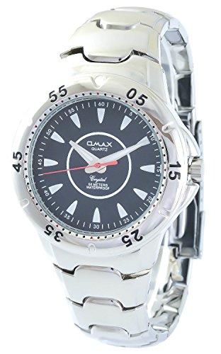 Omax Schwarz Silber Analog Metall Armbanduhr Quarz Uhr