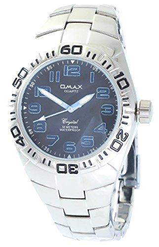 Omax Schwarz Blau Silber Analog Metall Armbanduhr Quarz Uhr