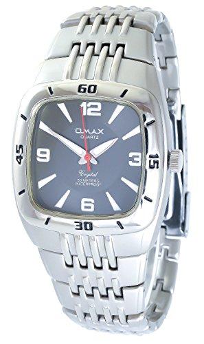 Omax Grau Silber Analog Metall Armbanduhr Quarz Uhr 60412113880