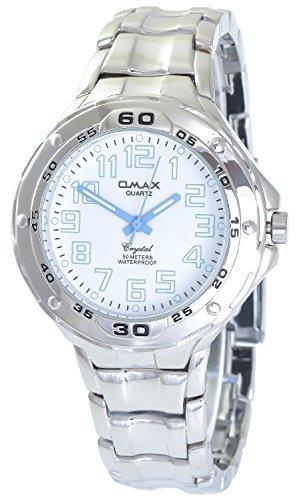 Omax Weiss Blau Silber Analog Metall Armbanduhr Quarz Uhr