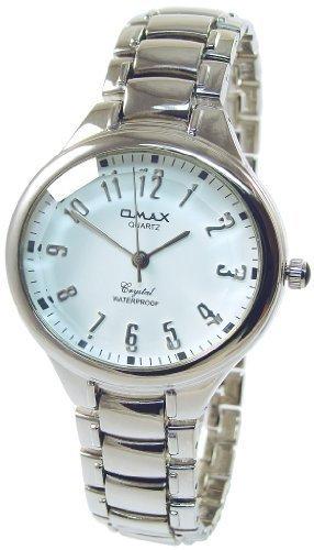 Omax XXL Weiss Silber Analog Metall Armbanduhr Quarz Uhr