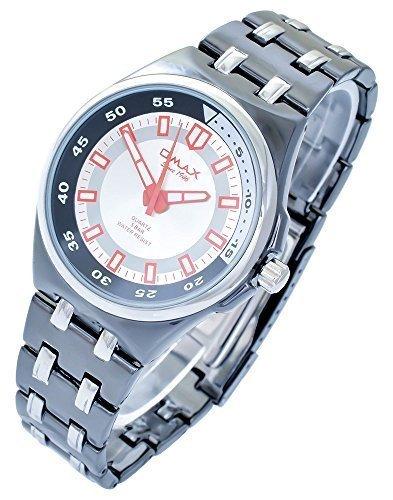 Omax Silber Weiss Schwarz Titan Look Analog Metall Armbanduhr Quarz Uhr