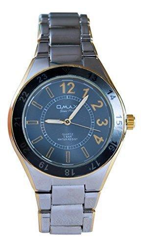 OMAX Herren s Gold Silber Metall blaues Zifferblatt Schweizer Wrist Watch Analog Quarz