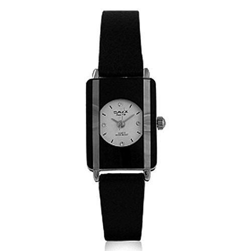 Omax Frauen s schwarz Echtleder Armband Weiss Gesicht mit Diamanten Watch Analog Quarz Wasserdichtigkeit