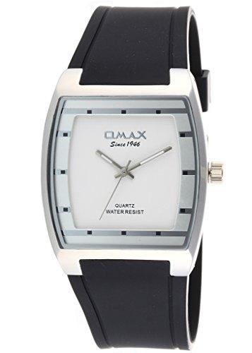 Neue Mode Kleid Stil Omax Mens Wrist Watch schwarz Silikon Band Silber Zifferblatt Analog Quarz