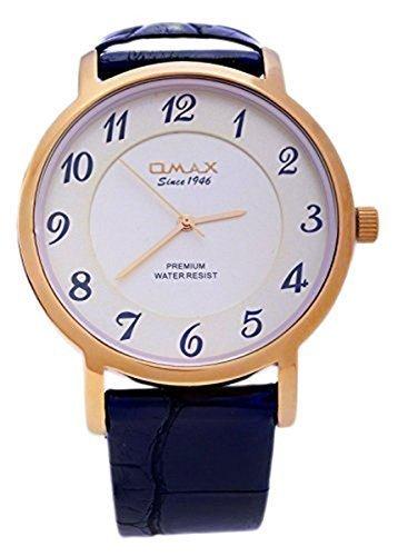 Omax Schweizer Maenner s Gold Zifferblatt schwarz PU Leder Armband analogen Wrist Watch Quarz