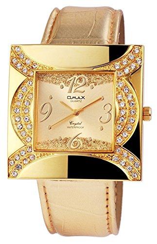 Omax Damen mit Quarzwerk SS1704000190 Metallgehaeuse mit Kunstleder Armband in Goldfarbig und Dornschliesse Ziffernblattfarbe Goldfarbig Bandgesamtlaenge 22 cm Armbandbreite 24 mm