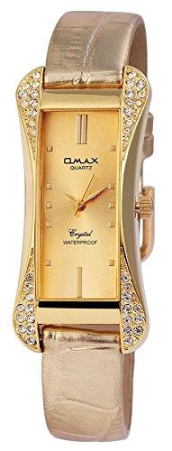 Omax Damen mit Quarzwerk SS1704000193 Metallgehaeuse mit Kunstleder Armband in Goldfarbig und Dornschliesse Ziffernblattfarbe Goldfarbig Bandgesamtlaenge 22 cm Armbandbreite 14 mm