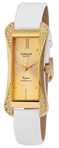 Omax Damen mit Quarzwerk SS1704100193 Metallgehaeuse mit Kunstleder Armband in Weiss und Dornschliesse Ziffernblattfarbe Goldfarbig Bandgesamtlaenge 22 cm Armbandbreite 14 mm