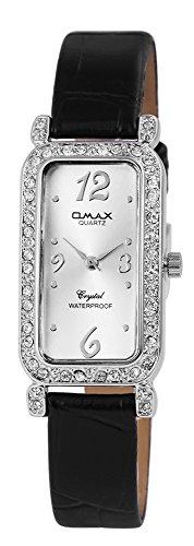 Omax Damen mit Quarzwerk SS1722500191 Metallgehaeuse mit Kunstleder Armband in Schwarz und Dornschliesse Ziffernblattfarbe Silber Bandgesamtlaenge 21 cm Armbandbreite 12 mm