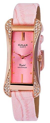 Omax Damen mit Quarzwerk SS1735500193 Metallgehaeuse mit Kunstleder Armband in Rosa und Dornschliesse Ziffernblattfarbe Rosa Bandgesamtlaenge 22 cm Armbandbreite 14 mm
