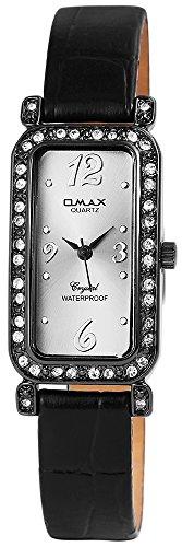 Omax Damen mit Quarzwerk SS1771500191 Metallgehaeuse mit Kunstleder Armband in Schwarz und Dornschliesse Ziffernblattfarbe Anthrazit Bandgesamtlaenge 21 cm Armbandbreite 12 mm