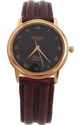 Omax Unisex Gold Luenette dunkel braun PU Leder Strap Watch Analog Quarz zusaetzlichen Akku
