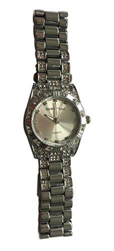 Herren Silber Ton Quarz Kristalle Luenette Hip Hop Bling Bling Armbanduhr Kristall Nieten Uhrenarmband Link