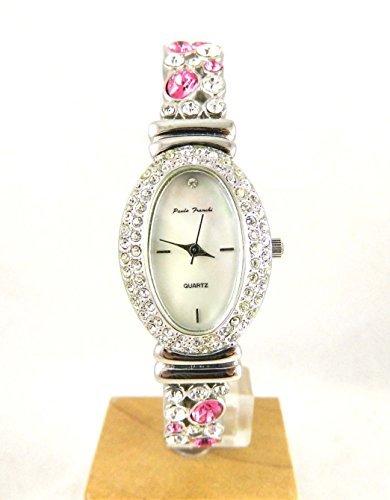 Damen Armbanduhr Paulo Franchi Oval Klar und Rosa Kristall Expander NEU Box