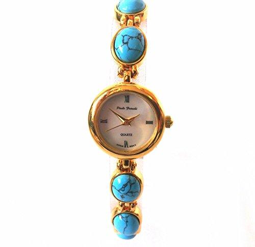 Damen tuerkis gold vergoldet Armband Uhr by Paulo Franchi Samen