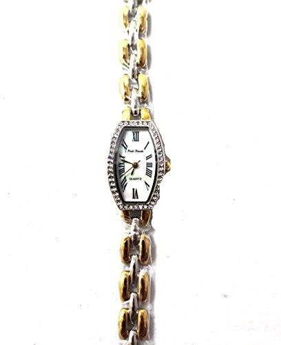 Elegante Zwei Ton Oval Crystal Case Set Damen Uhr echt Perlmutt Zifferblatt NEU Box