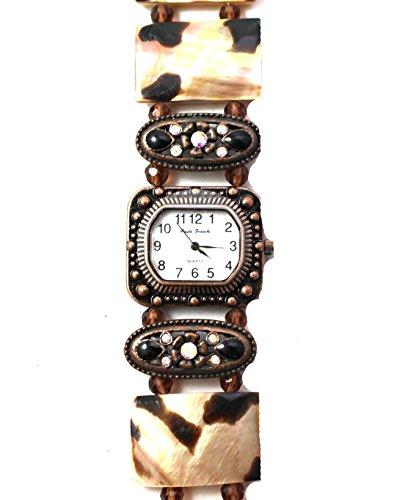 Paulo Franchi aussergewoehnliche Shell Effekt Antik Kupfer Ton und Kristall Armband Armbanduhr New Box