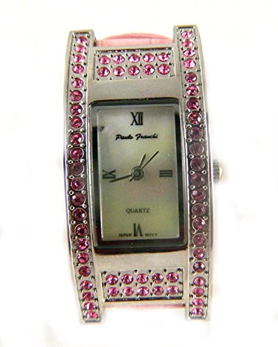 Paulo Franchi Silber Ton Pink Crystal Set Fall Echt Perlmutt Zifferblatt Hot Pink Leder Armbanduhr