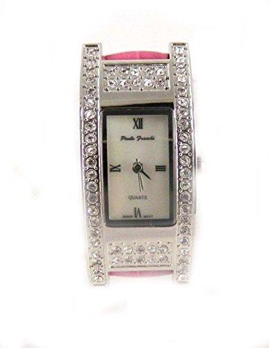 Paulo Franchi Silber Ton Clear Crystal Set Case Echt Perlmutt Zifferblatt Hot Pink Lederband