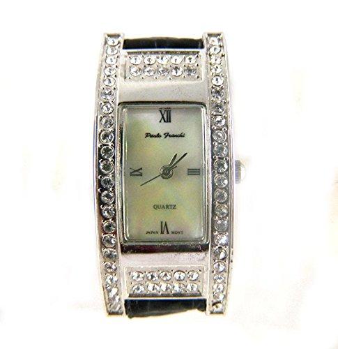 Paulo Franchi Silber Ton Clear Crystal Set Case Echt Perlmutt Zifferblatt weiss Leder strapwatch
