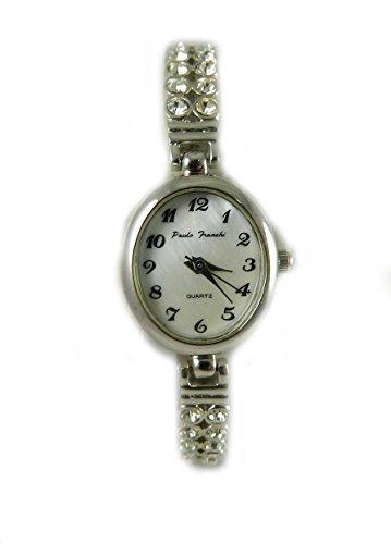 Damen Paulo Franchi Silber Ton echten Kristall 2 Zeile Armband Armbanduhr Oval Schutzhuelle New Boxed