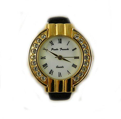 Paulo Franchi Gold Ton und Kristall Deco Look Damen Armbanduhr mit schwarz Kunstleder Riemen