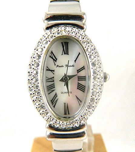 Damen Paulo Franchi Kristall Oval Silber Ton echtem Perlmutt Expander Armbanduhr New Box