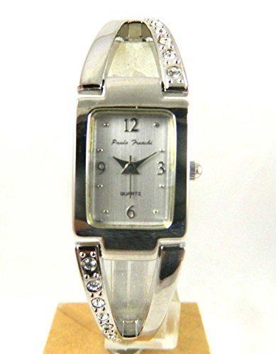 Damen Paulo Franchi Silber Ton Echt Kristall Silber Ton Zifferblatt Expander Armband Armbanduhr New Box